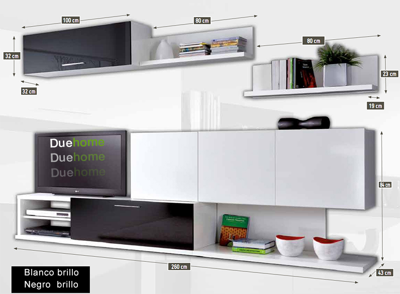 Medidas de un mueble para tv for Mueble comedor negro