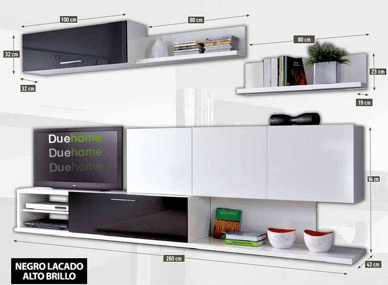Mueble de comedor salon moderno blanco y negro brillo ebay for Medidas mueble salon
